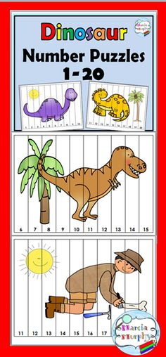 Dinosaurs Number Puzzles - Counting Puzzles 1-20 Dinosaur Theme Preschool, Dinosaur Puzzles, Preschool Science, Preschool Lessons, Counting Puzzles, Number Puzzles, Maths Puzzles, Teaching Themes, Classroom Themes