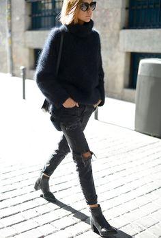 pull H&M, boots Zara - blog Thepetticoat