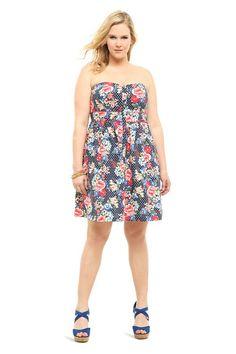 Floral & Polka Dot Poplin Strapless Dress | Dresses