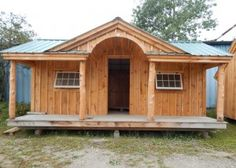 Looking to add a small cabin to your property? Check out this charming prefab cabin from Jamaica Cottage Shop. Fast, easy to build & can be customized! Prefab Cabin Kits, Prefab Cabins, Prefab Homes, Tiny Homes, Tiny Cabins, Log Cabins, 12x20 Shed Plans, Free Shed Plans, Cabin Plans