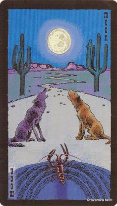 XVIII. The Moon - The Prairie Tarot by Robin Ator