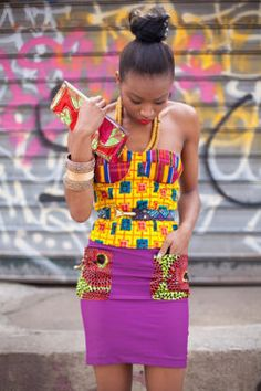 Get super trendy with these jaw-dropping Ankara styles! How cool is it to find a selection of cleverly designed Ankara styles that look fantastic, but which are not going to… African Inspired Fashion, African Print Fashion, Ethnic Fashion, Look Fashion, Fashion Prints, African Prints, Street Fashion, African Patterns, Fun Patterns