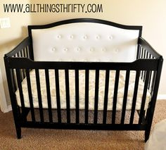 Change your crib by adding a back upholstered panel! No need to get a new crib, just change the one you already own!