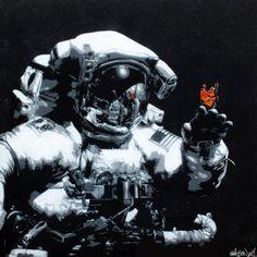 Martin Whatson Street Art Love, Best Street Art, Astronaut Drawing, Quirky Art, Graffiti Painting, Collage, Stavanger, Art Original, Gcse Art