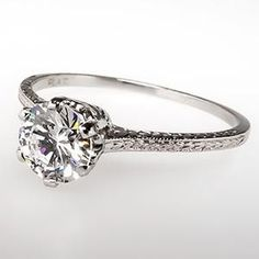 VINTAGE VVS F DIAMOND SOLITAIRE ENGAGEMENT RING PLATINUM