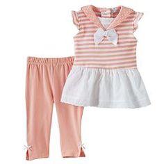 Quiltex Striped Peplum Tunic & Leggings Set - Baby Girl