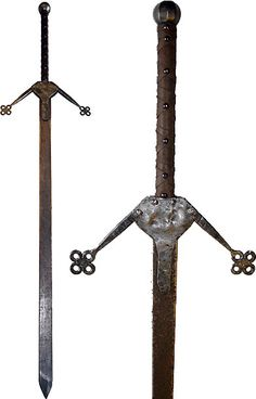 Scottish Claymore Swords. Long and heavy with extra weight at the end, these were meant to land with a crushing and devastating effect, and even cut people in half!