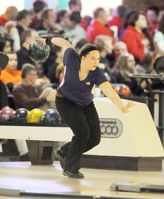 Muscatine's Chelsea Harris gets ready to launch the ball during Tuesday's Class 2A girls state bowling tournament in Des Moines.