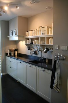 ~ Living a Beautiful Life ~ Great storage for my small kitchen Farmhouse Style Kitchen, Home Decor Kitchen, Country Kitchen, New Kitchen, Kitchen Dining, Kitchen Cabinets, Kitchen Small, Black Kitchens, Home Kitchens