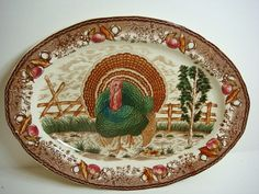 Turkey Platter  Transferware  Large  by Kleymannscloset on Etsy