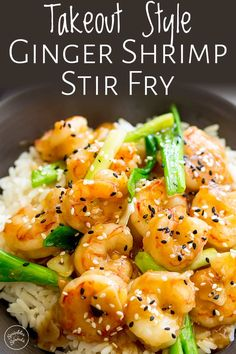 This Takeout Style Ginger Shrimp Stir Fry recipe takes 10 minutes to make, tastes amazing and uses easy to find grocery store ingredients! Chinese Shrimp Recipes, Fried Shrimp Recipes, Easy Chinese Recipes, Seafood Recipes, Asian Recipes, Healthy Recipes, Simple Shrimp Recipes, Fish Recipes, Cooking