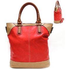 Golden Hardware Big Purse and Bag / Handbag/ Red/ Rch31601red,$39.99