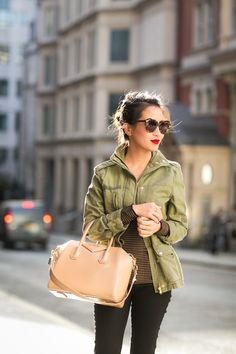 Casual Stroll :: Cargo jacket. Way to dress up a masculine jacket, I love the dark jeans and bright lipstick!