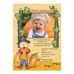 Photo Card Birthday Invitation Happy Scarecrow Photo Invitation