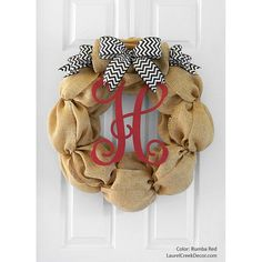 Items similar to Monogram Burlap Wreath for Fall Front Door Decor on Etsy