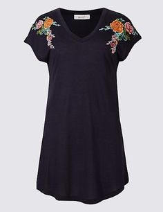 PER UNA Pure Modal Floral Embroidered T-Shirt Navy Size UK 16 DH088 LL 08.  Everyday DressesFashion OutfitsWomens ... 9d2e443aa