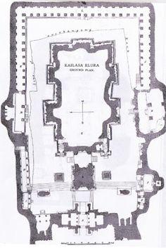 Kailash temple at ajanta ellora, construction plan and layout