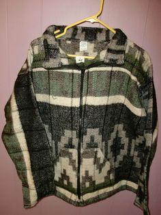 New Southwestern Native American Aztec Pattern Fleece Jacket Mens ...