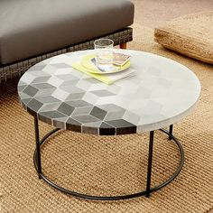 Mosaic Coffee Table - Isometric Concrete Round Top + Metal Base