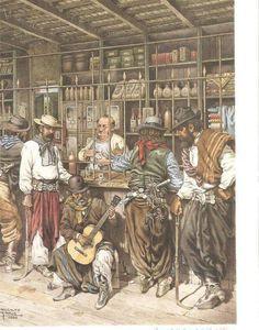 Mate Rio Grande Do Sul, Cowboy Art, Le Far West, Mexican Art, Beautiful Drawings, Western Art, Old West, Native American Indians, Cartoon Art