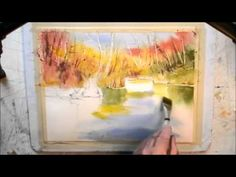 How to paint an autumn pond