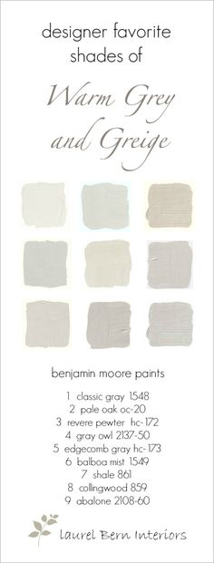 Use to help create the perfect space with these trendy greige paint colors. Nine Fabulous Benjamin Moore Warm Gray Paint Colors - laurel home Neutral Paint Colors, Interior Paint Colors, Wall Colors, House Colors, Interior Design, Playroom Paint Colors, Light Paint Colors, Popular Paint Colors, Interior Painting