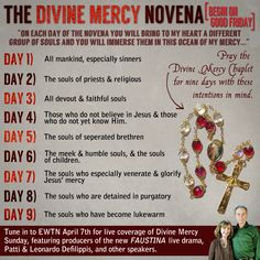 The Novena for Divine Mercy can be prayed anytime, but specifically requested by Jesus to start on GOOD FRIDAY from those willing to help Him save souls.