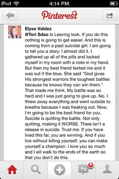 This is amazing. Please remind yourself of this if you is ever thinking if committing suicide. You are God's warrior and He only gives you the battle He knows you can fight.