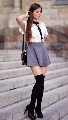 White lace blouse, gray flared skirt, black over knee socks and . Mini Skirt Dress, Pleated Mini Skirt, Sexy Skirt, Sexy Outfits, Fall Outfits, Cute Outfits, Fashion Outfits, Womens Fashion, White Lace Blouse