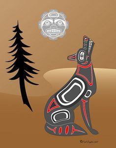 sitting Wolf w moon in brown by Haida Point Art, via Flickr
