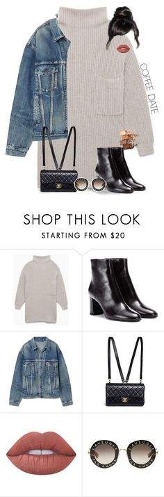 """coffee date"" by elenknstntn ❤ liked on Polyvore featuring Yves Saint Laurent, Balenciaga, Chanel, Lime Crime, Gucci, Maybelline and CoffeeDate"