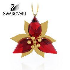Swarovski Crystal Christmas Figurine Ornament POINSETTIA GOLD TONE #5064281
