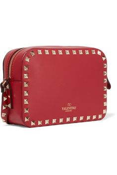 Valentino - The Rockstud Leather Shoulder Bag - Red