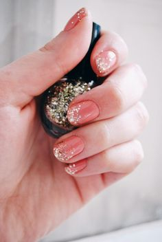 Coral nails with gold glitter tips. #nailart