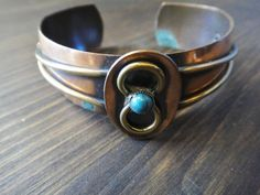 Adjustable Unisex Copper Cuff with Turquoise Stone by theavintage, $8.00