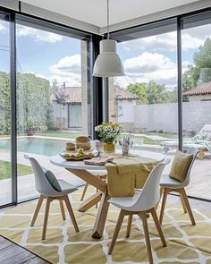 Patio Interior, Interior Exterior, Dining Chairs, Dining Room, Dining Table, Sweet Home, New Homes, Windows, Kitchen