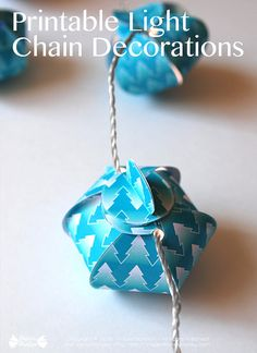 Turquoise gift box and ornaments Printable decoration for