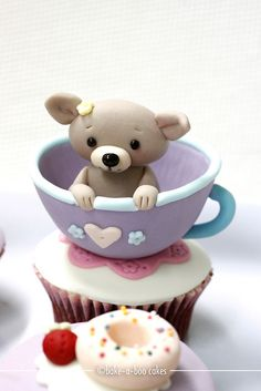 Puppy in a tea cup cupcake by Bake-a-boo Cakes NZ Pretty Cupcakes, Beautiful Cupcakes, Yummy Cupcakes, Cupcake Cookies, Teacup Cupcakes, Macaroons, Cake Pops, Bake A Boo, Cookies Decorados