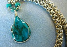 Chrysocolla wire wrapped pendant handmade chainmaille necklace wire wrapped necklace handmade chainmaille jewelry wire wrapped stone pendant