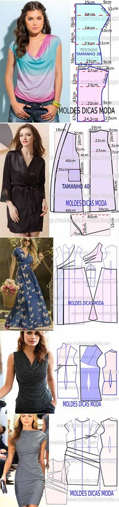DIY Women's Clothing : Surtido de patrones -Read More – Sewing Blouses, Sewing Shirts, Blouse Patterns, Clothing Patterns, Sewing Patterns Free, Sewing Tutorials, Diy Clothing, Refashion, Dressmaking