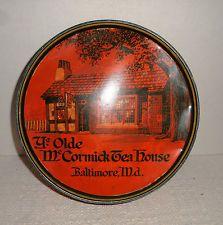 Antique YE OLDE McCORMICK TEA HOUSE Round Advertising TIn BALTIMORE MD 1936