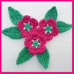 Crochet Flowers & Leaves Applique