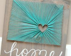Items similar to Colorado Home Art Grey and Teal Turquoise Love of State Wedding or Anniversary Gift Nail and String Art Going Away Gift Birthday on Etsy Art Gris, String Art Diy, String Art Heart, String Crafts, Wedding String Art, Arte Linear, String Art Patterns, Doily Patterns, Going Away Gifts