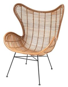 HK-living Stoel bruin naturel rotan Egg chair Deze stoel voor in de slaapkamer met mooie schapenvacht kussens!!