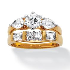 2 Piece 2.56 TCW Round, Pear-Cut and Baguette Cubic Zirconia Ring Set in 18k Gold-Plated at PalmBeach Jewelry