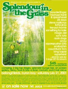 Splendour in the Grass Poster 2001.  www.byronbaycampinghire.com.au
