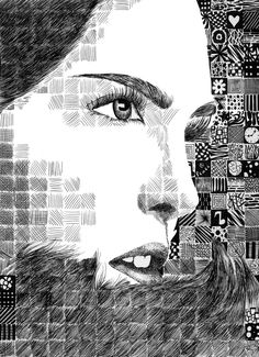Grid Pattern Portrait by randomWaffle123 on deviantART. cross hatching pattern and tone