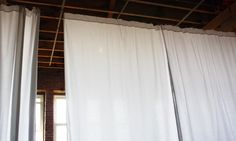How To Hang 30' Of Curtains For $40    Home Hacks. This is exactly the room divider I was thinking of!