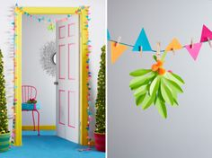 It's not a party 'til you put up the mistletoe. Here's how to make a playful paper pennant garland and mistletoe.