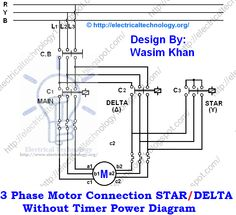 Three Phase Motor Connection STAR/DELTA Without Timer power Diagrams